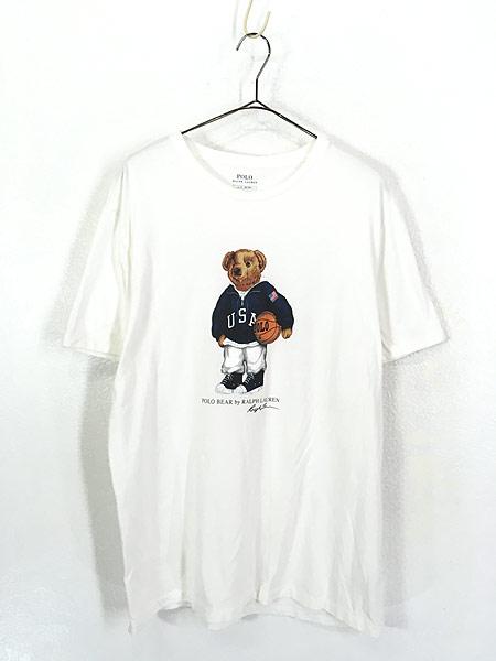 [1] 古着 POLO Ralph Lauren 人気 「POLO BEAR ポロベア」 バスケ Tシャツ L 古着
