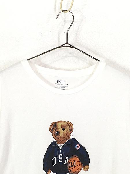 [2] 古着 POLO Ralph Lauren 人気 「POLO BEAR ポロベア」 バスケ Tシャツ L 古着