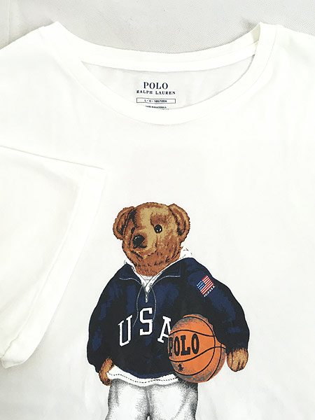 [4] 古着 POLO Ralph Lauren 人気 「POLO BEAR ポロベア」 バスケ Tシャツ L 古着