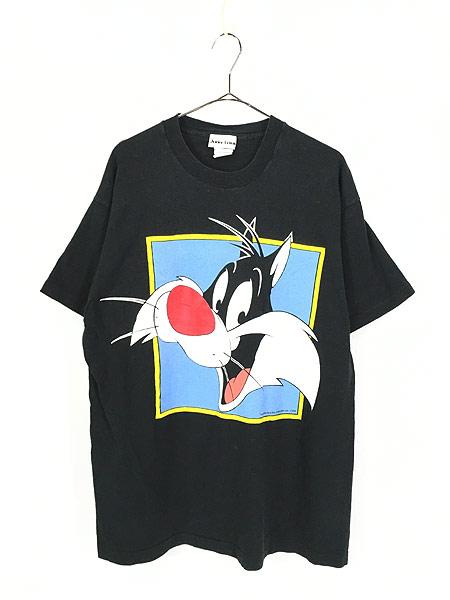 [1] 古着 90s USA製 LOONEY TUNES シルベスター BIGプリント Tシャツ 黒 XL位 古着