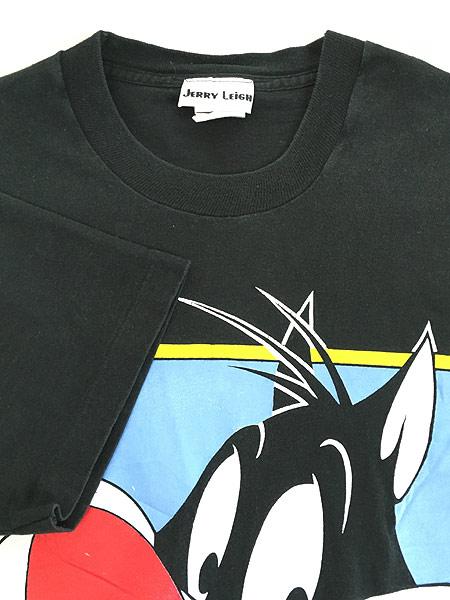 [4] 古着 90s USA製 LOONEY TUNES シルベスター BIGプリント Tシャツ 黒 XL位 古着