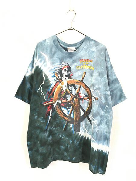 [1] 古着 90s USA製 Disney Pirates of the Caribbean 豪華 総柄 タイダイ Tシャツ XL 古着