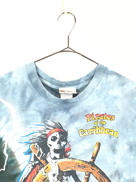 [2] 古着 90s USA製 Disney Pirates of the Caribbean 豪華 総柄 タイダイ Tシャツ XL 古着