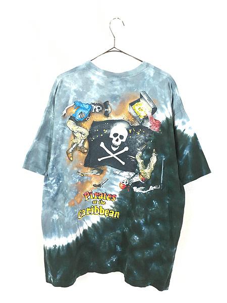 [3] 古着 90s USA製 Disney Pirates of the Caribbean 豪華 総柄 タイダイ Tシャツ XL 古着