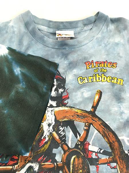 [4] 古着 90s USA製 Disney Pirates of the Caribbean 豪華 総柄 タイダイ Tシャツ XL 古着