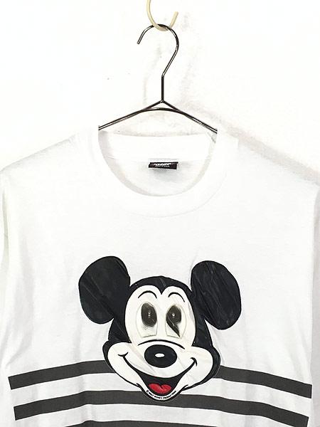 [2] 古着 90s USA製 Disney Mickey ミッキー ホログラム パッチ Tシャツ XL 古着