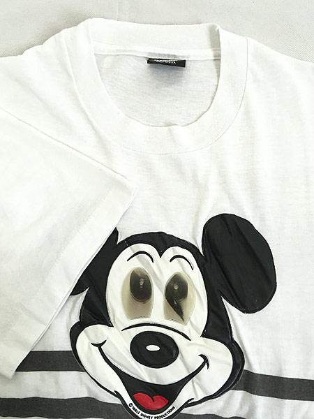 [4] 古着 90s USA製 Disney Mickey ミッキー ホログラム パッチ Tシャツ XL 古着