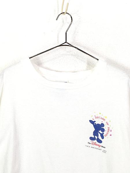 [2] 古着 90s The Disney Store 染み込み ワンポイント ミッキー Tシャツ XL 古着