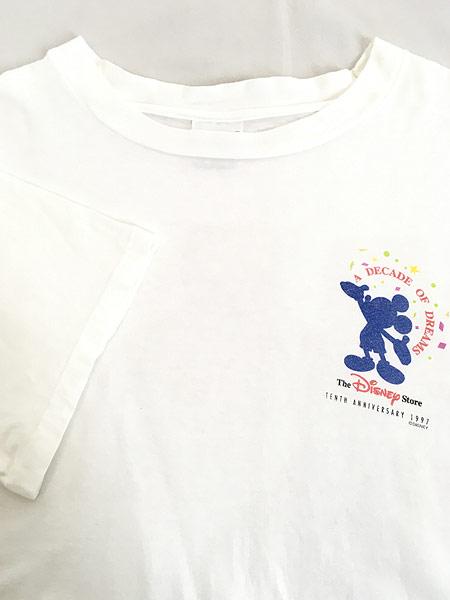 [4] 古着 90s The Disney Store 染み込み ワンポイント ミッキー Tシャツ XL 古着