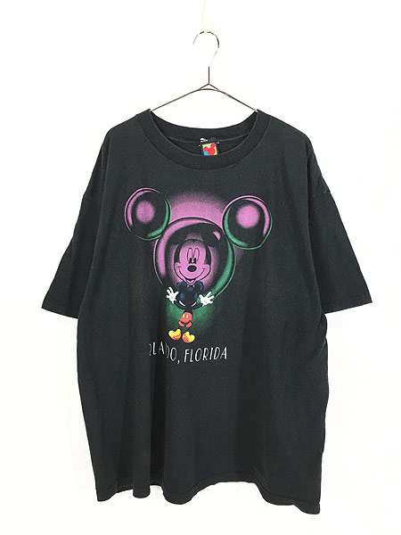 [1] 古着 90s Disney Mickey ミッキー 反射 デザイン Tシャツ XL位 古着