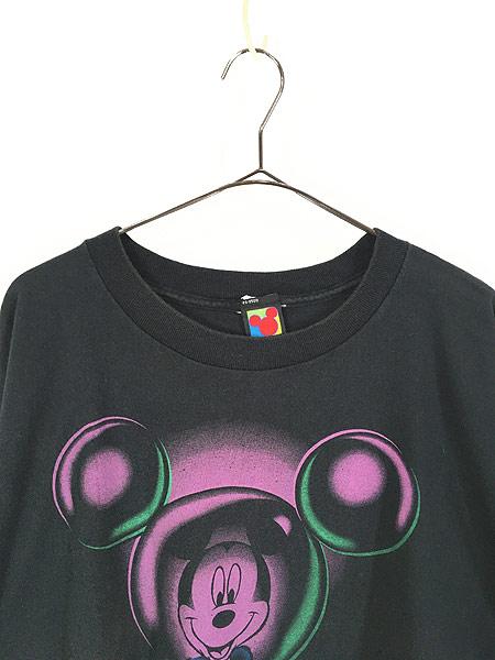[2] 古着 90s Disney Mickey ミッキー 反射 デザイン Tシャツ XL位 古着