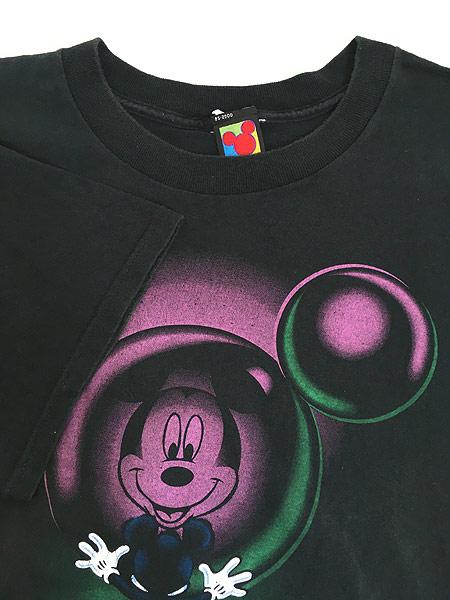 [4] 古着 90s Disney Mickey ミッキー 反射 デザイン Tシャツ XL位 古着