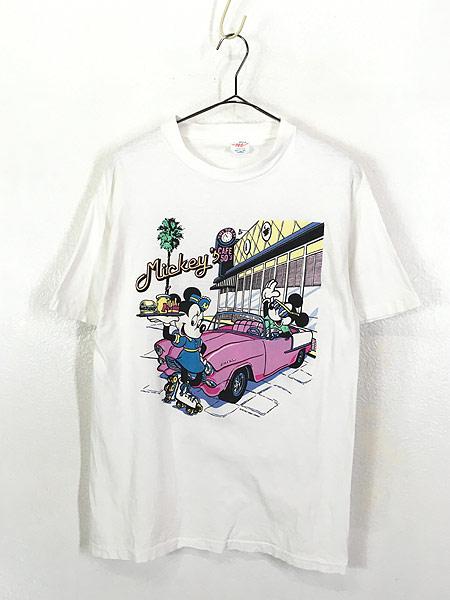 [1] 古着 90s Disney Mickey ミッキー ミニー クラシック カフェ Tシャツ L 古着