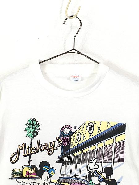 [2] 古着 90s Disney Mickey ミッキー ミニー クラシック カフェ Tシャツ L 古着