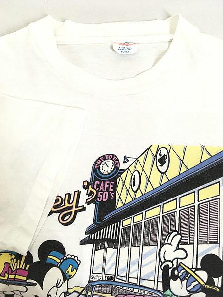 [4] 古着 90s Disney Mickey ミッキー ミニー クラシック カフェ Tシャツ L 古着