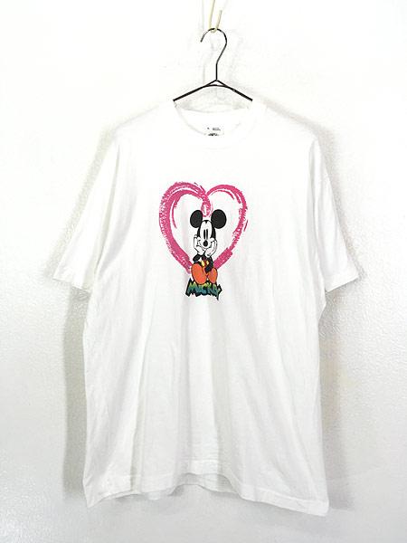 [1] 古着 90s USA製 Disney Mickey ミッキー ハート Tシャツ XL 古着