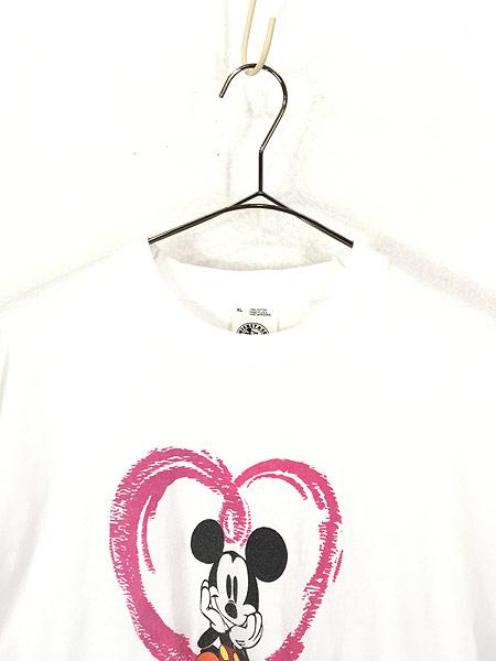 [2] 古着 90s USA製 Disney Mickey ミッキー ハート Tシャツ XL 古着