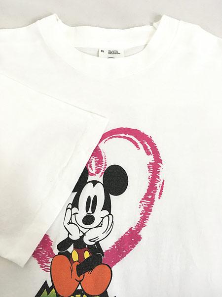 [4] 古着 90s USA製 Disney Mickey ミッキー ハート Tシャツ XL 古着