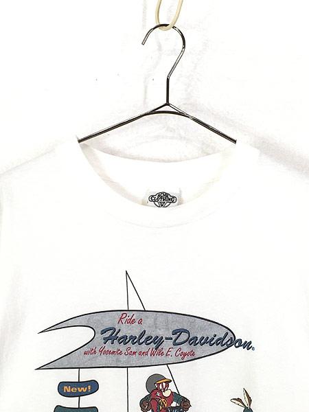 [2] 古着 90s USA製 LOONEY TUNES サム コヨーテ ハーレー Tシャツ L 古着