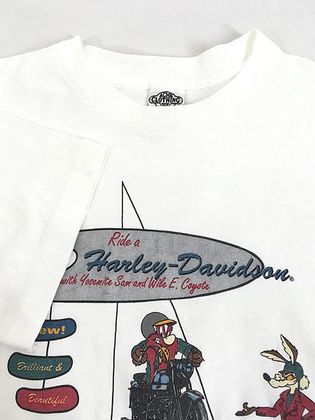 [4] 古着 90s USA製 LOONEY TUNES サム コヨーテ ハーレー Tシャツ L 古着