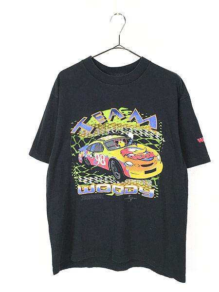 [1] 古着 90s USA製 WOODY WOOD PECKER ウッドペッカー レーシング Tシャツ L 古着