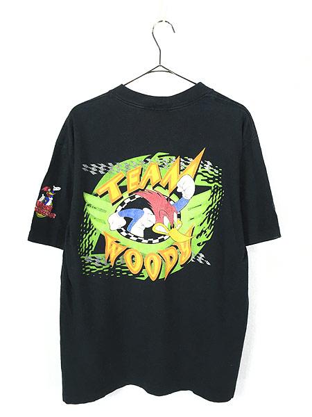 [3] 古着 90s USA製 WOODY WOOD PECKER ウッドペッカー レーシング Tシャツ L 古着