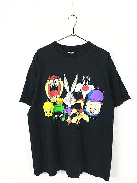 [1] 古着 90s USA製 LOONEY TUNES 大集合 フェイス Tシャツ XL 古着