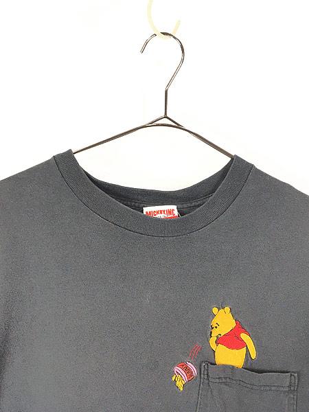 [2] 古着 90s USA製 Disney Pooh クマのプーさん ポケット Tシャツ ポケT XL位 古着