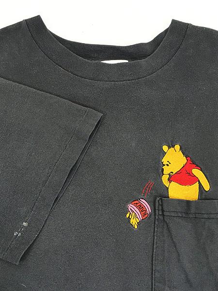 [4] 古着 90s USA製 Disney Pooh クマのプーさん ポケット Tシャツ ポケT XL位 古着