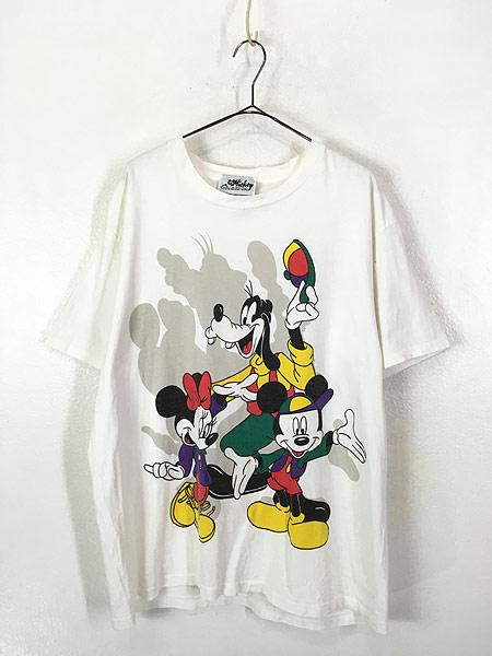 [1] 古着 90s USA製 Disney ミッキー ミニー グーフィー キャラクター Tシャツ XL位 古着