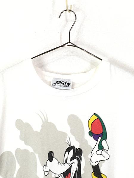 [2] 古着 90s USA製 Disney ミッキー ミニー グーフィー キャラクター Tシャツ XL位 古着