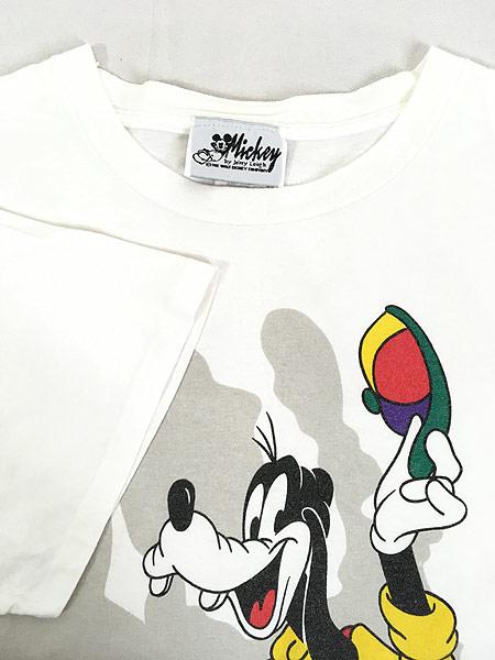 [4] 古着 90s USA製 Disney ミッキー ミニー グーフィー キャラクター Tシャツ XL位 古着