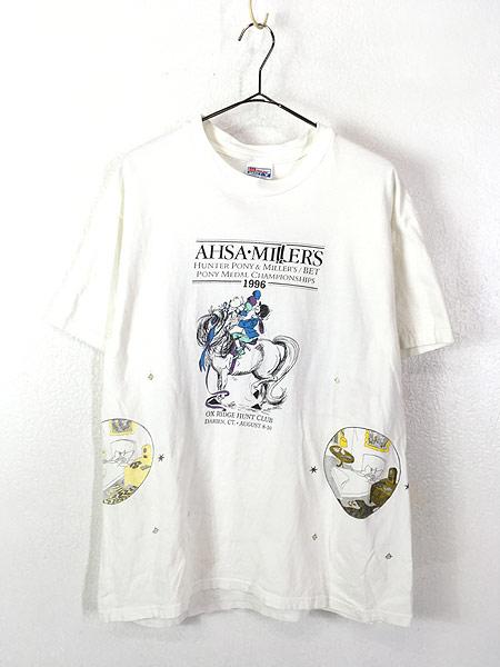 [1] 古着 90s USA製 AHSA Miller's 「Bad to the Bone」 豪華 マルチ グラフィック Tシャツ L 古着