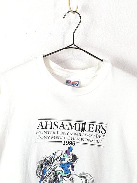 [2] 古着 90s USA製 AHSA Miller's 「Bad to the Bone」 豪華 マルチ グラフィック Tシャツ L 古着
