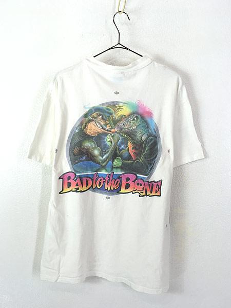 [3] 古着 90s USA製 AHSA Miller's 「Bad to the Bone」 豪華 マルチ グラフィック Tシャツ L 古着
