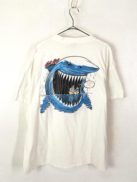 [3] 古着 90s USA製 「Shark Attack」 人食いザメ グラフィック Tシャツ XL 古着