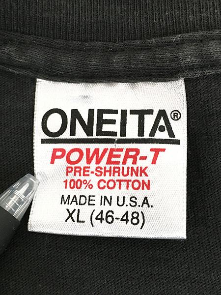 [7] 古着 90s USA製 「BAREBONES」 蛍光 ネオン ボーンズ Tシャツ XL 古着