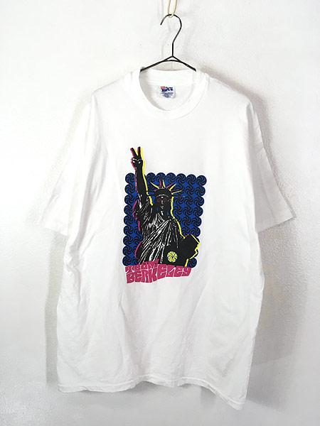 [1] 古着 90s USA製 Team Berkeley 自由の女神 ポップ アート Tシャツ XL 古着