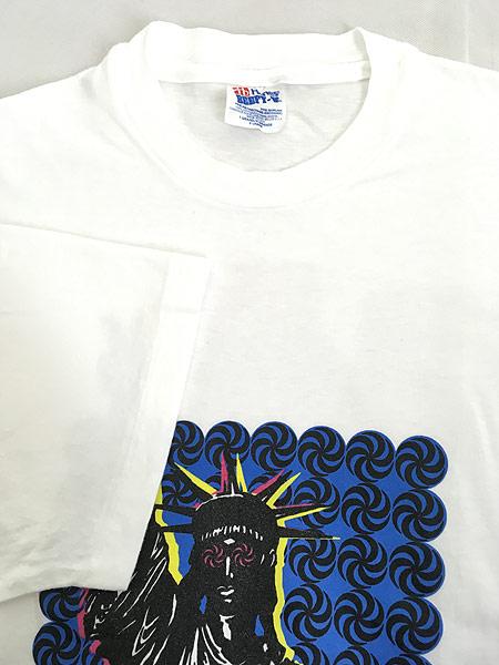 [4] 古着 90s USA製 Team Berkeley 自由の女神 ポップ アート Tシャツ XL 古着