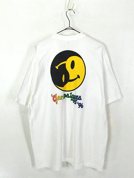 [3] 古着 90s USA製 「gany palooza」 2トーン スマイル ニコちゃん Tシャツ XL 古着