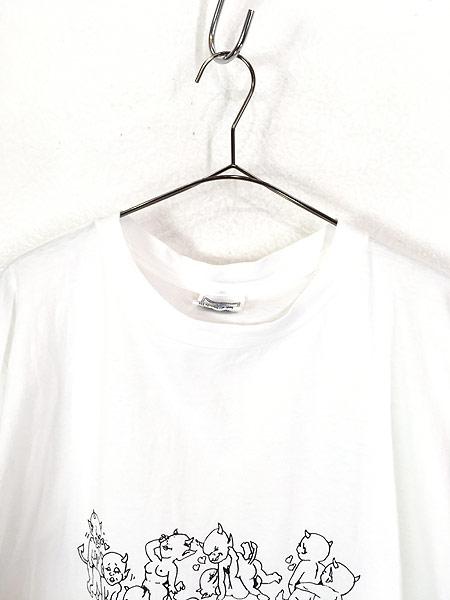 [2] 古着 90s 鬼 デビル 48手 モノトーン エロ Tシャツ XL 古着