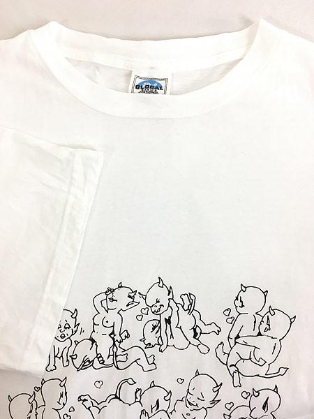 [4] 古着 90s 鬼 デビル 48手 モノトーン エロ Tシャツ XL 古着
