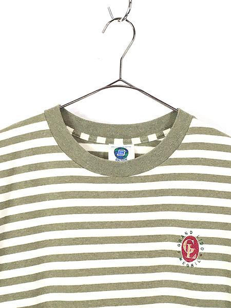 [2] 古着 80s USA製 BELTON ワンポイント ボーダー Tシャツ XL 古着