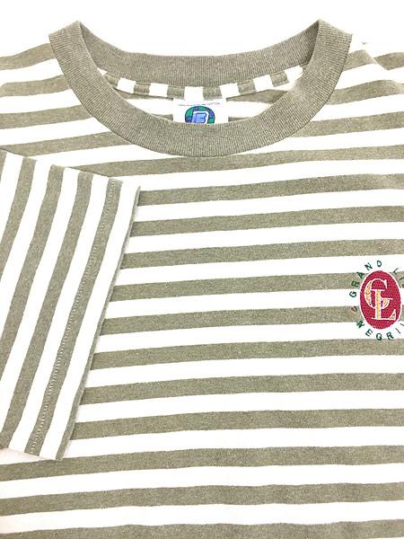 [4] 古着 80s USA製 BELTON ワンポイント ボーダー Tシャツ XL 古着