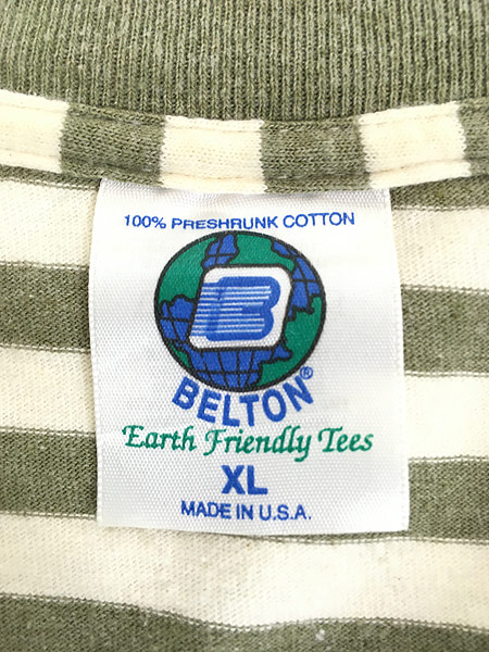 [5] 古着 80s USA製 BELTON ワンポイント ボーダー Tシャツ XL 古着