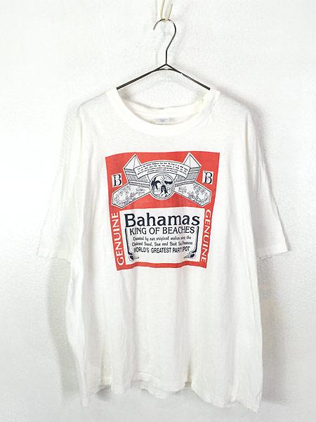 [1] 古着 90s 「Bahama King of Beachs」 Budweiser パロディ Tシャツ XXL 古着