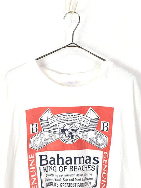 [2] 古着 90s 「Bahama King of Beachs」 Budweiser パロディ Tシャツ XXL 古着