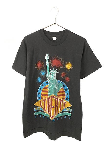 [1] 古着 80s USA製 「LIBERTY」 自由の女神 花火 オールド Tシャツ L 古着