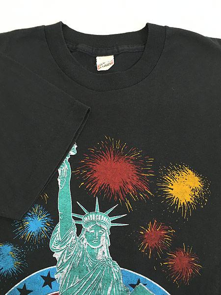 [4] 古着 80s USA製 「LIBERTY」 自由の女神 花火 オールド Tシャツ L 古着