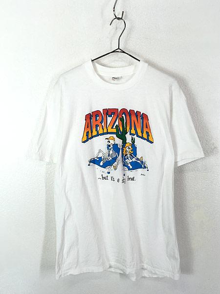 [1] 古着 90s USA製 「ARIZONA」 砂漠 スカル ボーン 発泡 Tシャツ L 古着